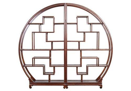 Fine Asianliving Chinesisches Bücherregal Runder offener Schrank Braun B176xH192cm