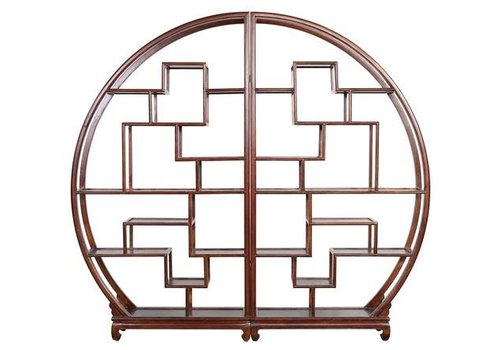 Fine Asianliving Fine Asianliving Chinese Bookcase Round Open Cabinet Brown L176xH192cm