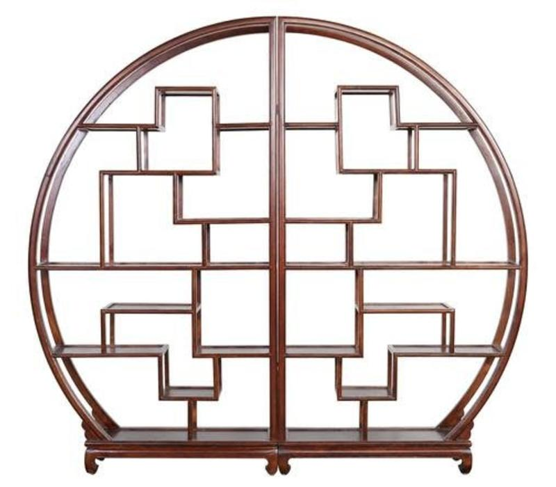 Fine Asianliving Chinese Bookcase Round Open Cabinet Brown L176xH192cm