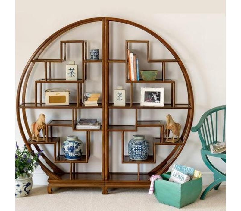 Chinees Houten T Rond.Chinese Ronde Display Kast Bruin Orientique Asianliving