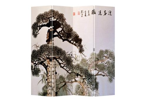 Fine Asianliving Chinees Kamerscherm 4 Panelen Oude Bonzai Boom