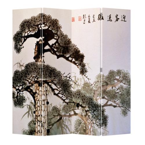 Chinees Kamerscherm 4 Panelen Oude Bonzai Boom
