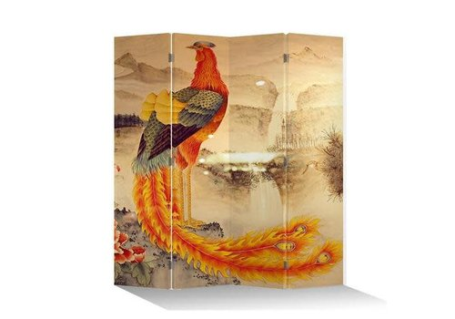Fine Asianliving Chinees Kamerscherm Oosters Scheidingswand B160xH180cm 4 Panelen Feniks