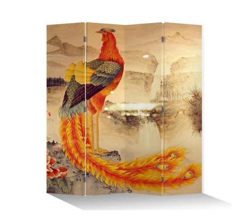 Fine Asianliving Chinees Kamerscherm Oosters Scheidingswand 4 Panelen Phoenix L160xH180cm