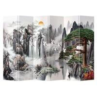 Fine Asianliving Kamerscherm Scheidingswand 6 Panelen Kraanvogels Bergen