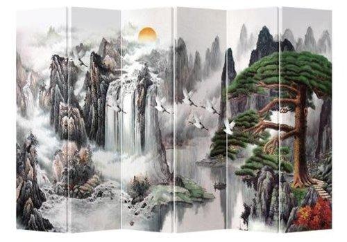 Fine Asianliving Fine Asianliving Kamerscherm Scheidingswand 6 Panelen Kraanvogels Bergen (240x180cm)