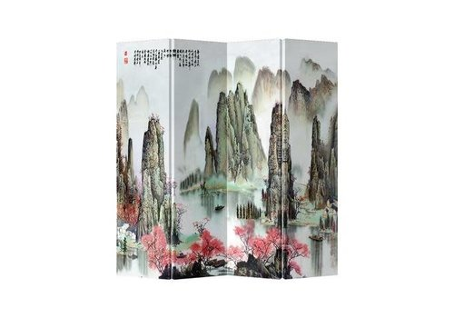 Fine Asianliving Fine Asianliving Chinese Oriental Room Divider Folding Privacy Screen 4 Panelen Mountains and Lake L160xH180cm