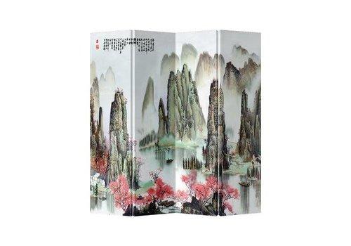 Fine Asianliving Fine Asianliving Kamerscherm 4 Panelen Bergen en Meertje