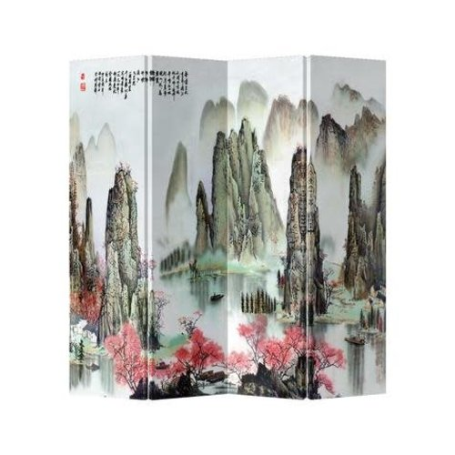 Fine Asianliving Chinese Oriental Room Divider Folding Privacy Screen 4 Panelen Mountains and Lake L160xH180cm