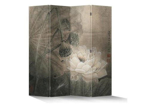 Fine Asianliving Fine Asianliving Chinees Kamerscherm 4 Panelen Lotuspond Vintage