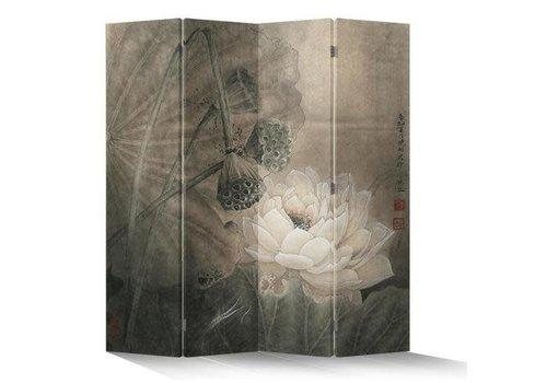 Fine Asianliving Fine Asianliving Oriental Room Divider 4 Panel Lotuspond Vintage L160xH180cm