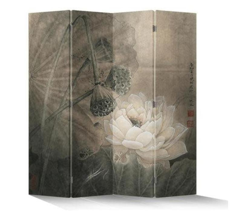 Fine Asianliving Chinees Kamerscherm 4 Panelen Lotuspond Vintage L160xH180cm