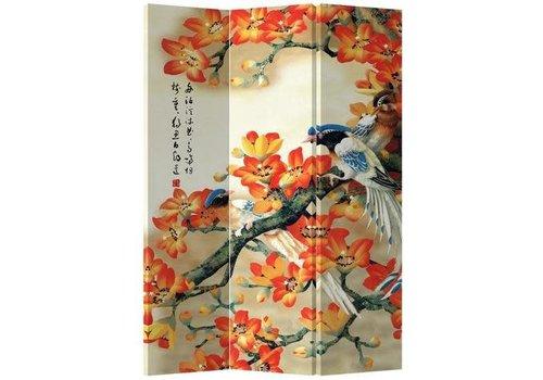 Fine Asianliving Room Divider Privacy Screen 3 Panel Orange Blossoms Blue Birds L120xH180cm