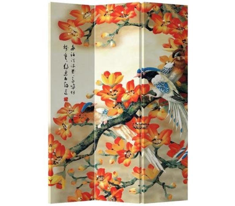 Chinees Kamerscherm 3 Panelen Oranje Bloesems met Vogel