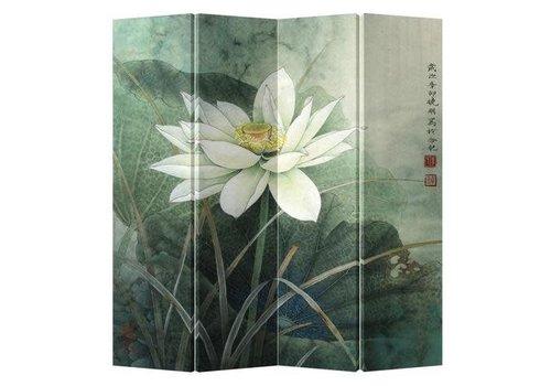 Fine Asianliving PREORDER WEEK 46 Fine Asianliving Chinees Kamerscherm 4 Panelen Witte Lotus