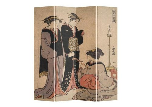 Fine Asianliving Oosters Kamerscherm 4 Panelen Japanse Vrouwen Kimono Muziek Kiyonaga