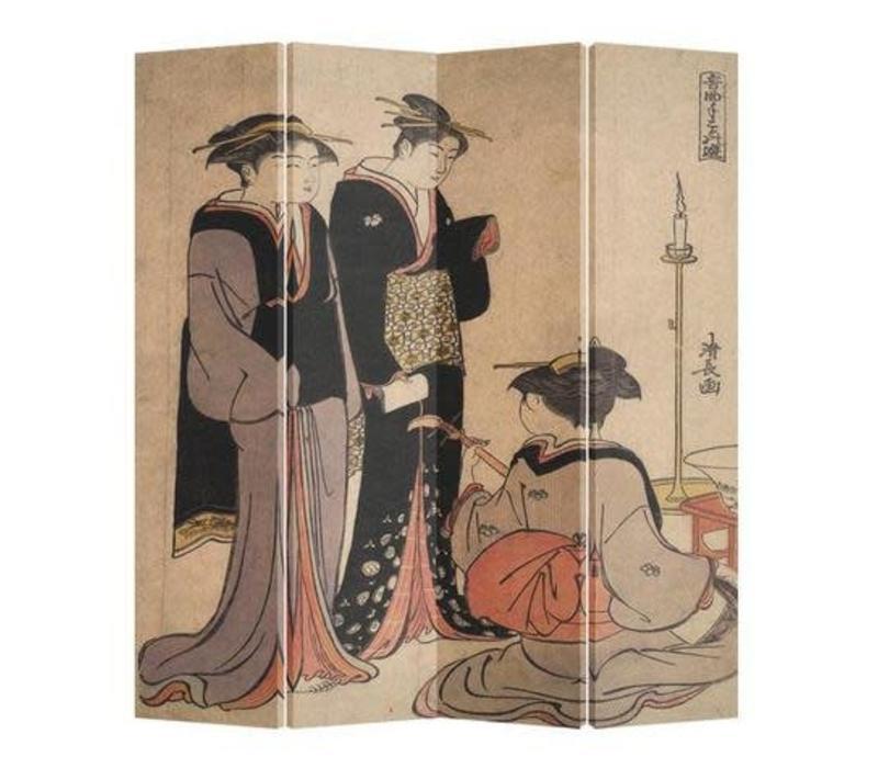 Fine Asianliving Japans Kamerscherm Oosters Scheidingswand 4 Panelen Japanse Vrouwen Muziek L160xH180cm
