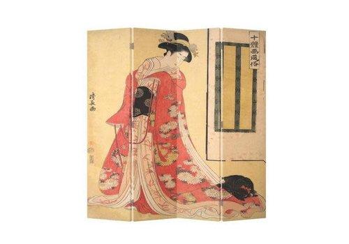 Fine Asianliving Oosters Kamerscherm 4 Panelen Japanse Vrouw