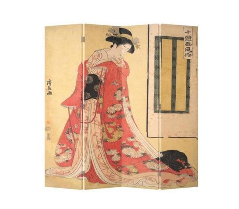 Oosters Kamerscherm 4 Panelen Japanse Vrouw