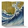 Fine Asianliving Fine Asianliving Japans Kamerscherm Oosters Scheidingswand 4 Panelen Kanagawa Nami Goud L160xH180cm