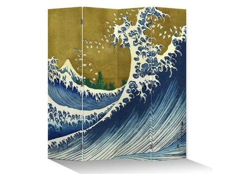 Fine Asianliving Fine Asianliving Japanese Oriental Room Divider Folding Privacy Screen 4 Panel Kanagawa Nami Gold L160xH180cm