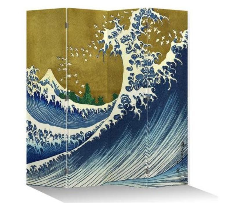 Fine Asianliving Japans Kamerscherm Oosters Scheidingswand 4 Panelen Kanagawa Nami Goud L160xH180cm