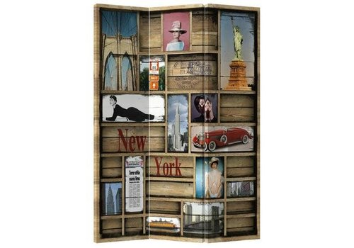 Fine Asianliving Fine Asianliving Room Divider 3 Panel New York Closet L120xH180cm