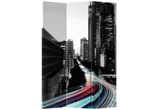 Fine Asianliving Kamerscherm 3 Panelen Gekleurde Snelweg Zwart-Witte Stad