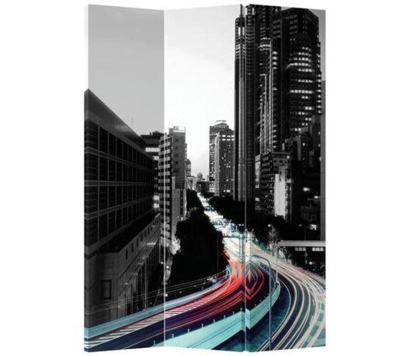 Kamerscherm 3 Panelen Gekleurde Snelweg Zwart-Witte Stad
