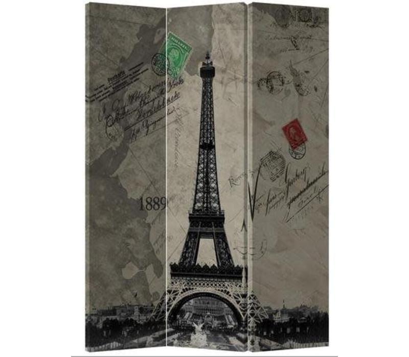 Fine Asianliving Kamerscherm Scheidingswand 3 Panelen Retro Eiffeltoren