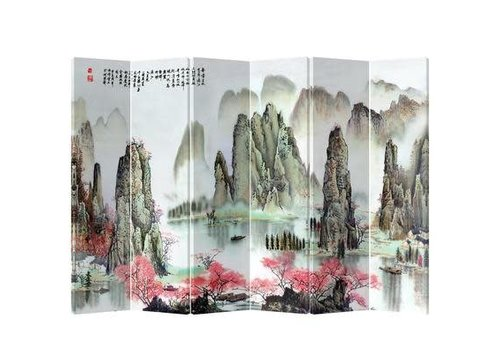 Fine Asianliving Chinees Kamerscherm 6 Panelen Bergen met Perzikbloesems