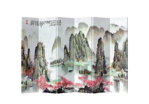 Fine Asianliving Fine Asianliving Kamerscherm Scheidingswand 6 Panelen Bergen met Perzikbloesems