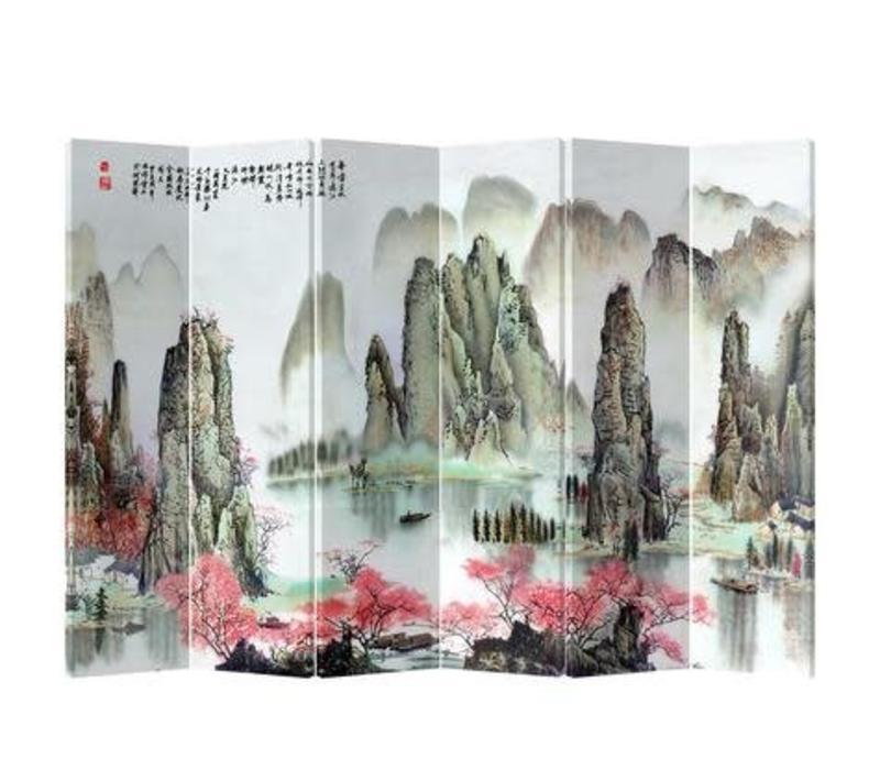 Chinees Kamerscherm 6 Panelen Bergen met Perzikbloesems