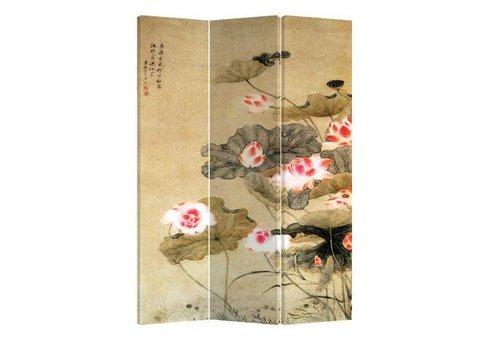 Fine Asianliving Fine Asianlving Kamerscherm Scheidingswand 3 panelen Waterlelies L120xH180cm
