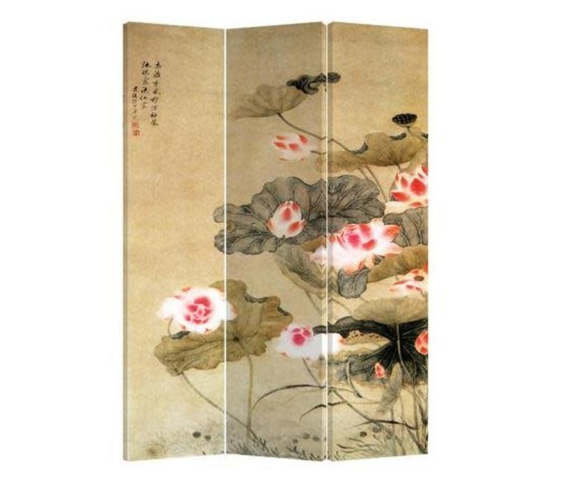 Fine Asianliving Kamerscherm Scheidingswand 3 Panelen Water Lelies