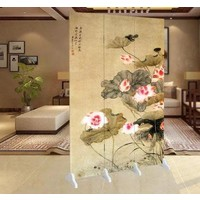 Fine Asianliving Room Divider Privacy Screen 3 Panel Water Lilies L120xH180cm