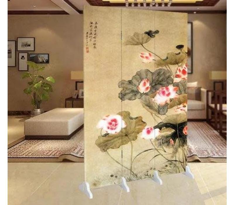 Chinees Kamerscherm 3 Panelen Water Lelies