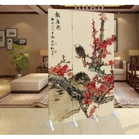 Fine Asianliving Chinese Oriental Room Divider Folding Privacy Screen 3 Panel Blossoms and Eagle L120xH180cm