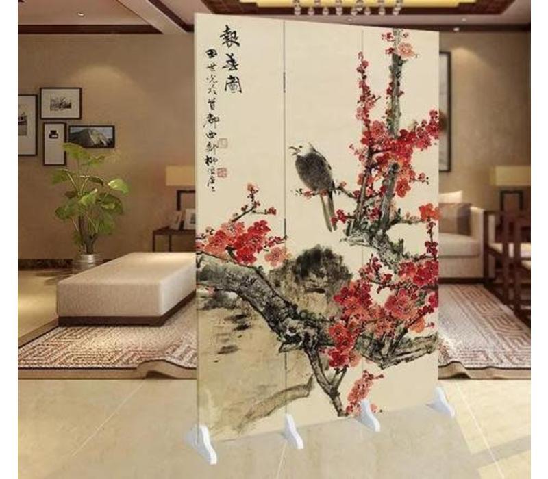 Fine Asianliving Chinees Kamerscherm Oosters Scheidingswand 3 panelen Arend Bloesems L120xH180cm