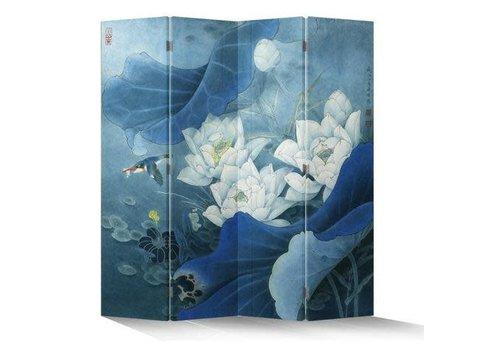 Fine Asianliving Chinees Kamerscherm 4 Panelen Lotuspond Vogel Blauw