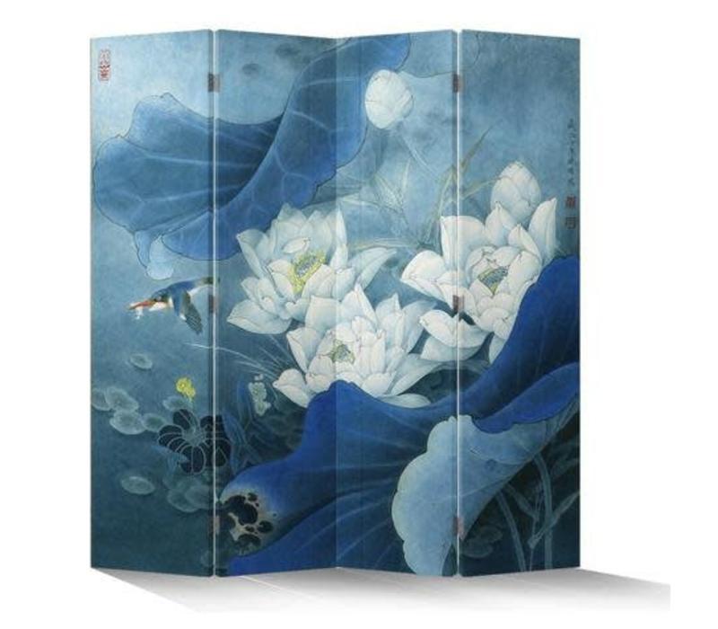 Fine Asianliving Chinees Kamerscherm Oosters Scheidingswand 4 Panelen Lotuspond Blauw L160xH180cm