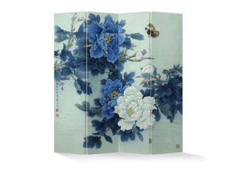 Fine Asianliving Chinees Kamerscherm 4 Panelen Blauwe Mudanbloemen met Vlinders