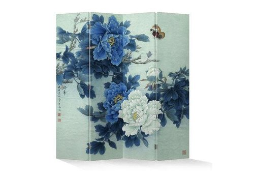 Fine Asianliving PREORDER WEEK 05 Fine Asianliving Room Divider Privacy Screen 4 Panel Peonies and Butterflies