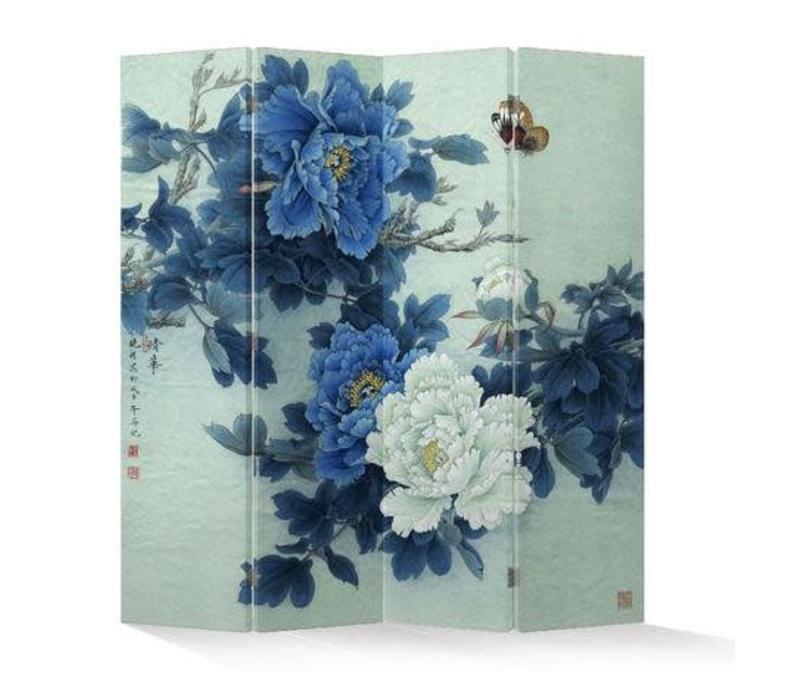Fine Asianliving Kamerscherm Scheidingswand 4 Panelen Mudans en Vlinders