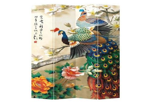Fine Asianliving Chinese Oriental Room Divider Folding Privacy Screen 4 Panel Colourful Peacocks L160xH180cm