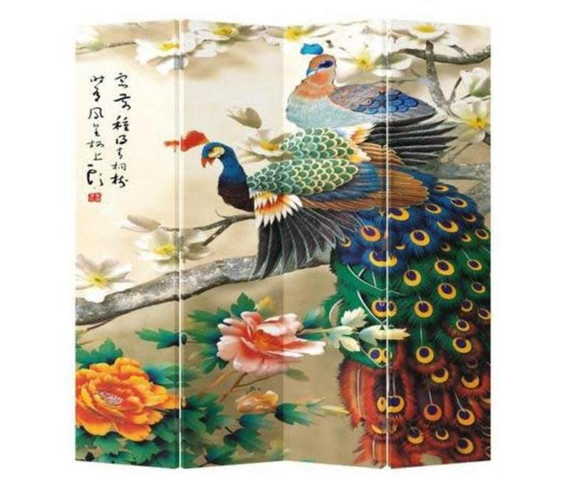 Chinees Kamerscherm Oosters Scheidingswand B160xH180cm 4 Panelen Kleurrijke Pauwen