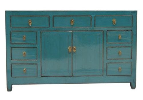 Fine Asianliving Oud Chinees Dressoir Blauw (1900-1915) - Dongbei China