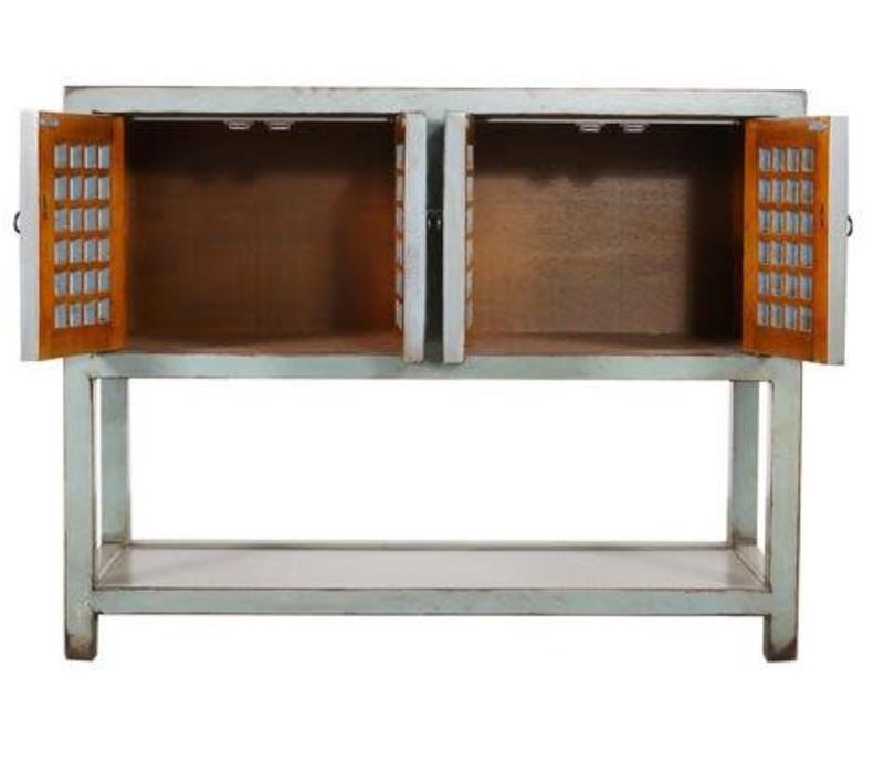 Chinesischer Konsolentisch Beistelltisch Antik-Look Grau
