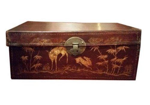 Fine Asianliving Antieke Chinese Kist met Gouden Schilderingen Handbeschilderd