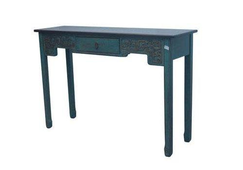 Fine Asianliving Chinese Sidetable Blauw met Houtsnijwerk B129xD37H85cm